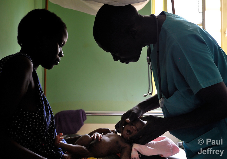 Yatta Ben (right) examines a young patient in the St. Daniel Comboni Catholic Hospital in Wau, South Sudan. Ben is a student nurse from the Catholic Health Training Institute in Wau. The Institute, which trains nurses and midwives for a country where they are in short supply, is coordinated by Solidarity with South Sudan, an international consortium of more than 200 religious congregations that trains teachers, health workers and pastoral personnel in several locations throughout South Sudan.