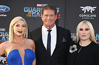 """HOLLYWOOD, CA - April 19: Taylor Ann Hasselhoff, David Hasselhoff, Hayley Hasselhoff, At Premiere Of Disney And Marvel's """"Guardians Of The Galaxy Vol. 2"""" At The Dolby Theatre  In California on April 19, 2017. Credit: FS/MediaPunch"""
