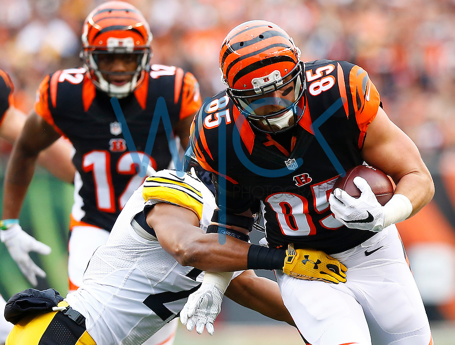 Tyler Eifert #85 of the Cincinnati Bengals runs after the catch in the first quarter against the Pittsburgh Steelers during the game at Paul Brown Stadium on December 12, 2015 in Cincinnati, Ohio. (Photo by Jared Wickerham/DKPittsburghSports)