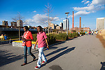 Railroad Park in downtown Birmingham, Alabama, an 8 block long green space that celebrates the industrial and artistic heritage of the city.  It was designed by landscape architect Tom Leader and is located across the street from the new baseball stadium, Regions Field