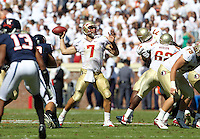 Oct 2, 2010; Charlottesville, VA, USA; Florida State Seminoles quarterback Christian Ponder (7) throws the ball in traffic during the game against the Virginia Cavaliers at Scott Stadium. Florida State won 34-14.  Mandatory Credit: Andrew Shurtleff