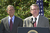 """John P. Walters, right, United States President George W. Bush's nominee to be the """"Drug Czar"""", makes remarks in the Rose Garden of the White House in Washington, D.C. on May 10, 2001..Credit: Ron Sachs / CNP"""