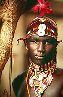 Samburu ilmurran or young warrior. The Samburu are a pastoral, nomadic people who live in northern Kenya.  Their customs, language, and traditions are very similar to the more well known and legendary Maasai of Central and Southern Kenya, and Northern Tanzania.