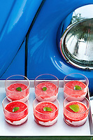 Glasses of strawberry and watermelon sorbet