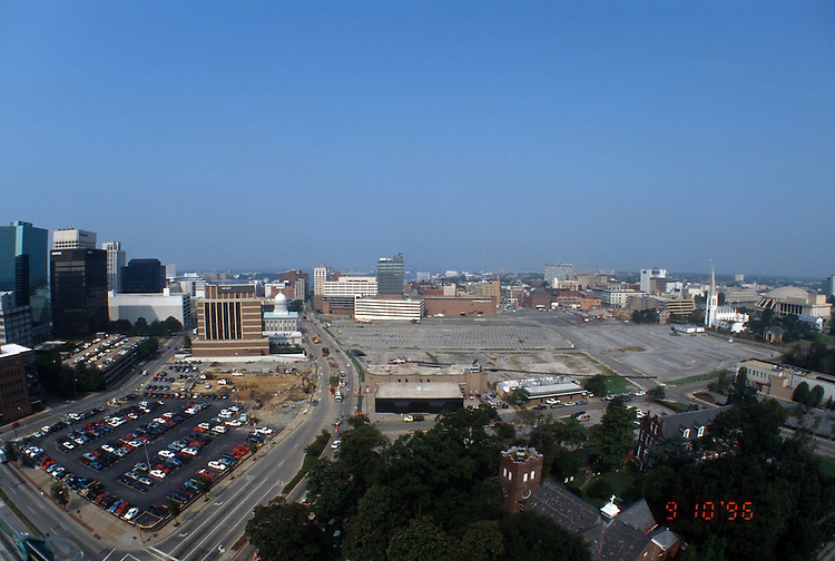 1996 September 10..Redevelopment..Macarthur Center.Downtown North (R-8)..PROGRESS.LOOKING WEST.FROM SCHOOL ADMIN BUILDING.CITY HALL AVENUE ON LEFT.SUPER WIDE VIEW...NEG#.NRHA#..