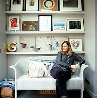 Caroline Greenwell, interior designer and art collector, in her house in Chelsea, which she has renovated and designed