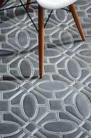 Maxwell, a stone and glass waterjet mosaic, shown in Venetian honed Bardiglio and Tropical White glass. Designed by Sara Baldwin Designs for New Ravenna.<br />
