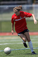 Aztec MA midfielder Kylie Strom (18) brings the ball forward. In a Women's Premier Soccer League (WPSL) match, Aztec MA defeated CFC Passion, 4-0, at North Reading High School Stadium on July 1, 2012.