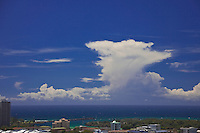 February 15th 2010.  Summer storm clouds line the horizon while the onshore northerly winds whip up white caps, Coolangatta, Queensland, Australia.Photo: Joliphotos.com