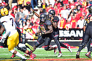 College Park, MD - OCT 15, 2016: Maryland Terrapins quarterback Tyrrell Pigrome (3) throws from the pocket during game between Maryland and Minnesota at Capital One Field at Maryland Stadium in College Park, MD. (Photo by Phil Peters/Media Images International)