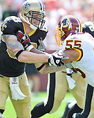 Landover, MD - September 14, 2008 -- New Orleans Saints tight end Jeremy Shockey (88) blocks Washington Redskins defensive end Jason Taylor (55) in first quarter action at FedEx Field in Landover, Maryland on Sunday, September 14, 2008..Credit: Ron Sachs / CNP.(RESTRICTION: NO New York or New Jersey Newspapers or newspapers within a 75 mile radius of New York City)