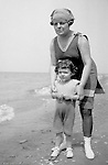 North East PA:  Aunt Helen and niece Helen Stewart on the shores of Lake Erie - 1919.