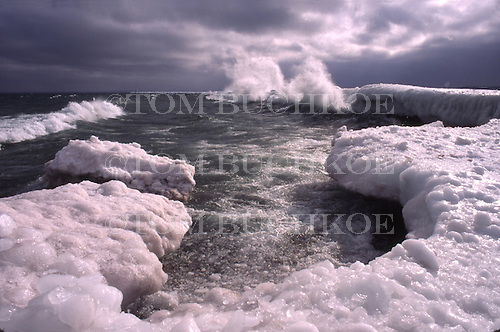 Lake Superior shoreline in the Upper Peninsula of Michigan. Upper harbor breakwall in Marquette.