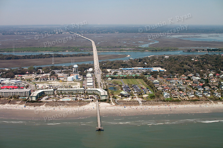 Island Of palms beach pier and condos South Carolina aerial photography