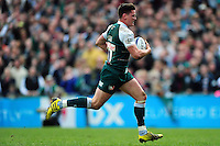 Freddie Burns of Leicester Tigers runs in a try. European Rugby Champions Cup quarter final, between Leicester Tigers and Stade Francais on April 10, 2016 at Welford Road in Leicester, England. Photo by: Patrick Khachfe / JMP