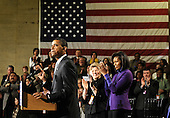 Philadelphia, PA - January 17, 2009 -- United States President-elect Barack Obama delivers remarks during a rally to kickoff his Whistle Stop Train Tour in Philadelphia on Saturday, January 17, 2009. The ceremonial trip will carry President-elect Obama, Vice President-elect Biden and their families to Washington for their inaugurations with additional events in Philadelphia, Wilmington and Baltimore. Obama, who will be sworn in as the 44th President of the United States on January 20, 2009, was joined on stage by his wife Michelle (R) and Patricia Stiles a resident of Parker, Colorado.  .Credit: Kevin Dietsch - Pool via CNP