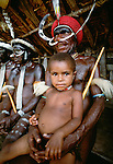 Traditional ceremonial garb on Dani tribespeople, Papua, Indonesia