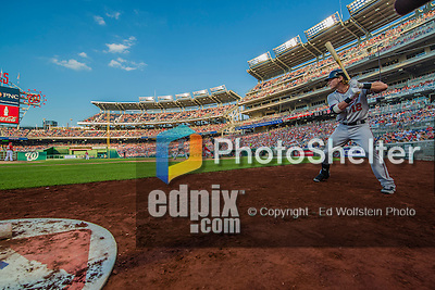 8 June 2013: Minnesota Twins catcher Chris Herrmann stands on deck during a game against the Washington Nationals at Nationals Park in Washington, DC. The Twins edged out the Nationals 4-3 in 11 innings. Mandatory Credit: Ed Wolfstein Photo *** RAW (NEF) Image File Available ***