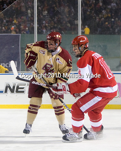 Pat Mullane (BC - 11), Corey Trivino (BU - 10) - The Boston University Terriers defeated the Boston College Eagles 3-2 on Friday, January 8, 2010, at Fenway Park in Boston, Massachusetts, as part of the Sun Life Frozen Fenway doubleheader.