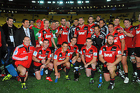 The Crusaders celebrate winning the New Zealand conference. Super 15 rugby match - Crusaders v Hurricanes at Westpac Stadium, Wellington, New Zealand on Saturday, 18 June 2011. Photo: Dave Lintott / lintottphoto.co.nz