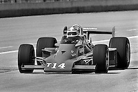 INDIANAPOLIS, IN - MAY 25: AJ Foyt drives his Parnelli VPJ6C/Cosworth into the pit lane during practice for the Indy 500 at the Indianapolis Motor Speedway in Indianapolis, Indiana, on May 25, 1980.