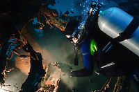 Diver exploring a wreck, Manokwari, West Papua, Indonesia.