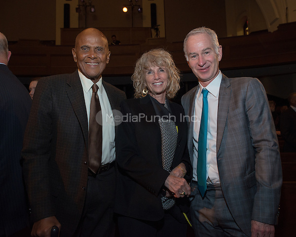 NEW YORK, NY - APRIL 3: Harry Belafonte, Pamela Belafonte, John McEnroe pictured as David N. Dinkins, 106th Mayor of the City of New York, receives the Dr. Phyllis Harrison-Ross Public Service Award for a lifetime of public service at the New York Society of Ethical Culture in New York City on April 3, 2014. Credit: Margot Jordan/MediaPunch