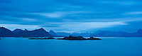 View from Stamsund, Vestvagoy, towards Austvagoya, Lofoten islands, Norway