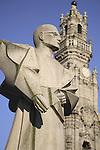 Clerigos Tower disigned by Nicolau Nasoni with a statue to Antonio Ferreira Gomes, Porto, Douro Litoral, Portugal