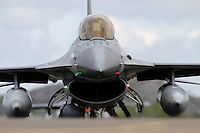 General Dynamics F-16 fighter jets taxi. Nato Tiger Meet is an annual gathering of squadrons using the tiger as their mascot. While originally mostly a social event it is now a full military exercise. Tiger Meet 2012 was held at the Norwegian air base Ørlandet.
