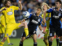 Eddie Gaven of the Crew fights for a loose ball against Jason Hernandez of Earthquakes during the second half of the game at Buck Shaw Stadium in Santa Clara, California.  San Jose Earthquakes tied Columbus Crew, 2-2.
