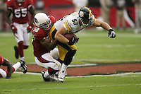10/23/11 Glendale, AZ: Pittsburgh Steelers tight end Heath Miller #83 and Arizona Cardinals inside linebacker Daryl Washington #58 during an NFL game played at University of Phoenix Stadium between the Arizona Cardinals and the Pittsburgh Steelers. The Steelers defeated the Cardinals 32-20.
