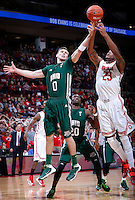 Ohio State Buckeyes center Amir Williams (23) snags a rebound against Ohio Bobcats forward Treg Setty (0) in the second half of the college basketball game between the Ohio State Buckeyes and the Ohio Bobcats at Value City Arena in Columbus, Tuesday evening, November 12, 2013. The Ohio State Buckeyes defeated the Ohio Bobcats 79 - 69. This was the first meeting of the teams in 19 years and the first ever game between them at Value City Arena. (The Columbus Dispatch / Eamon Queeney)