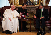 The Speaker of the United States House of Representatives John Boehner (Republican of Ohio), right, speaks with Pope Francis in the U.S. Capitol building as the Pope arrives to deliver his speech to a joint meeting of Congress on Thursday, September 24, 2015. <br /> Credit: Bill Clark / Pool via CNP