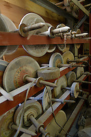 Diamond grinding wheels stored at Shimizu Glass, Tokyo, Japan, January 14, 2015. Edokiriko is a style of cut glass that dates back to 1834 and is similar to British cut glass. It makes use coloured glass and highly-intricate Japanese motifs.