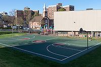 The basketball court on the grounds of the Thomas L. Slater Community Center in White Plains, New York