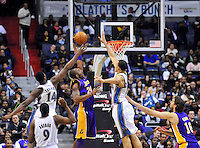 Kobe Bryant of the Lakers has his shot block by Wizards' JaVale McGee. Los Angeles defeated Washington 103-89 at the Verizon Center in Washington, DC on Tuesday, December 14, 2010. Alan P. Santos/DC Sports Box