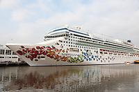 Cruise ship Norwegian Gem docked at the New York City cruise terminal