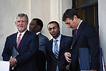 Lawyers for former IMF chief Dominique Strauss-Kahn, William W.Taylor (C) and Amit P. Mehta (centre R),waits to speak to the media after the civil case with Nafissatou Diallo in New York, United States. 28/03/2012.  Photo by Kena Betancur / VIEWpress.