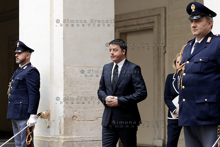Roma, 26 aprile 2014<br /> Il Presidente del Consiglio Matteo Renzi in attesa del  premier ucraino Arseny Yatseniuk a Palazzo Chigi.<br /> The President of the Council of Ministers, Matteo Renzi, meets Prime Minister of Ukraine Arseny Yatseniuk at Palazzo Chigi.