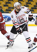 Justin Daniels (NU - 11) - The Northeastern University Huskies defeated the Harvard University Crimson 4-1 (EN) on Monday, February 8, 2010, at the TD Garden in Boston, Massachusetts, in the 2010 Beanpot consolation game.