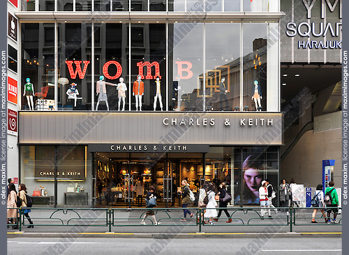 Charles and Keith and WOMB fashion clothing stores in YM Square, Harajuku, Tokyo, Japan.