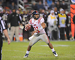 Ole Miss' Barry Brunetti (11) passes vs. Mississippi State in Starkville, Miss. on Saturday, November 26, 2011.