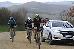 Chris Juul Jensen (IRL/DEN) Orica-Scott on gravel sector 8 Monte Santa Maria during the 2017 Strade Bianche running 175km from Siena to Siena, Tuscany, Italy 4th March 2017.<br /> Picture: Eoin Clarke | Newsfile<br /> <br /> <br /> All photos usage must carry mandatory copyright credit (&copy; Newsfile | Eoin Clarke)