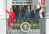 United States President Barack Obama, right, First Lady Michelle Obama, left center, and Prime Minister Justin Trudeau of Canada, right center, and and Mrs. Sophie Gr&eacute;goire Trudeau, left, wave from the South Portico of the White House following an Arrival Ceremony in Washington, DC on Thursday, March 10, 2016. <br /> Credit: Ron Sachs / CNP