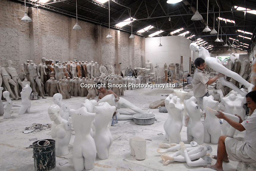 Oparchy Mannequin factory in Panyu, China. The process of mannequin manufacturing involves the use of toxic cancer causing resin and the use of fibre glass that creates a poisonous dust. The workers are paid higher wages to work in such conditions..13 Jun 2007
