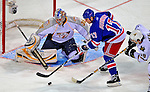 24 January 2009: Nashville Predators rookie goaltender Pekka Rinne makes a save on New York Rangers center Brandon Dubinsky during the NHL YoungStars Game where the Rookies defeated the Sophomores 9-5 in the NHL SuperSkills Competition, part of the All-Star Weekend at the Bell Centre in Montreal, Quebec, Canada. ***** Editorial Sales Only ***** Mandatory Photo Credit: Ed Wolfstein Photo