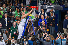 Mar 31, 2014; Natalie Achonwa (11) cuts a part of the net after Notre Dame defeated the Baylor Bears in the finals of the Notre Dame regional in the 2014 NCAA Tournament at the Purcell Pavilion. Notre Dame won 88-69.<br /> <br /> Photo by Matt Cashore