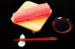 A slab of tuna is arranged for a photo in Tokyo, Japan.