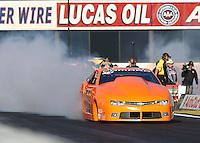 Nov 13, 2016; Pomona, CA, USA; NHRA pro stock driver Bo Butner during the Auto Club Finals at Auto Club Raceway at Pomona. Mandatory Credit: Mark J. Rebilas-USA TODAY Sports